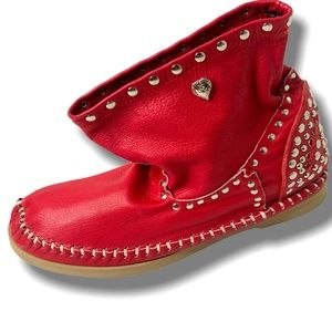 Ldir Low Indianini Red Leather Booties w/Studs 10